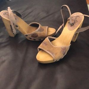 Rare find.. Sam Edelman calf hair and wood heels